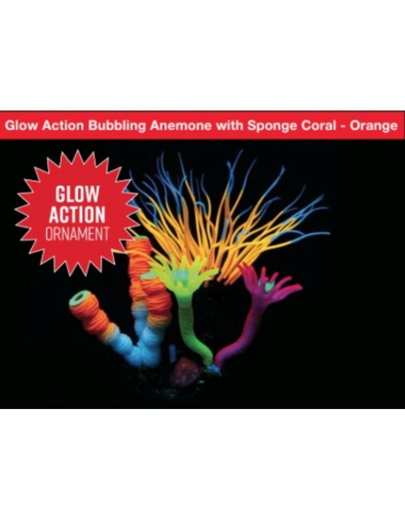 Aquaria (W) AT Glow Action Bubbling Anemone with Sponge Coral - Orange