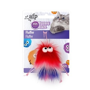 Dog & cat (W) All for Paws - Furry Ball Fluffer - Red