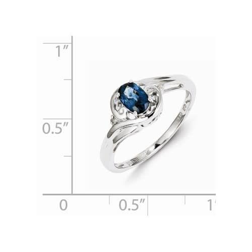Sterling Silver Rhodium Plated Diamond & Sapphire Ring 210000005273