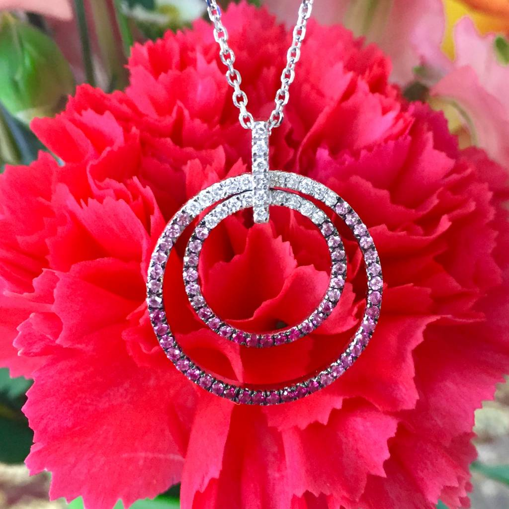 18K White Gold Pink Sapphire & Diamond Circle Pendant on 14KW 18in Cable Chain