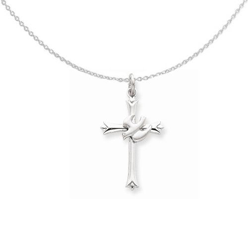 Sterling Silver Holy Spirit Cross with Dove Necklace 18in Cable Chain
