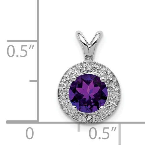 Sterling Silver Diamond & Purple Amethyst Halo Necklace 18in
