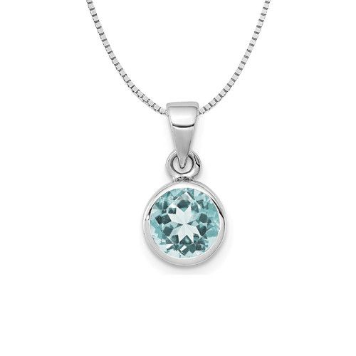 Sterling Silver Small Light Round Blue Topaz Necklace 18in