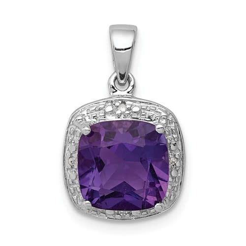 Sterling Silver Rhodium Purple Cushion Amethyst & Diamond Necklace 18in