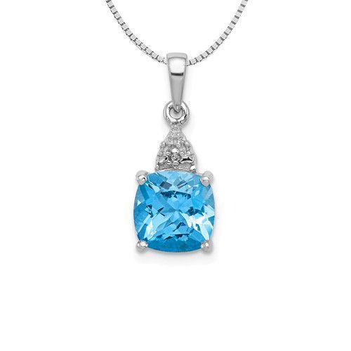 Sterling SilverCushion Cut Swiss Blue Topaz & Diamond Necklace 18in