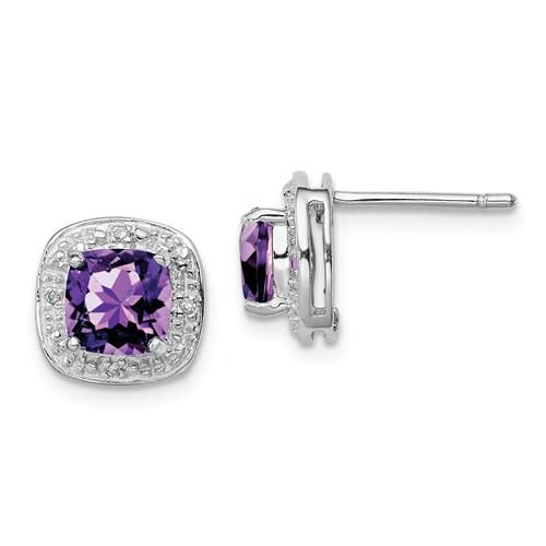 Sterling Silver Rhodium Halo Purple Amethyst & Diamond Post Earrings