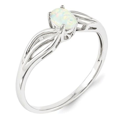 Sterling SIlver Oval Lab Created Opal Size 7