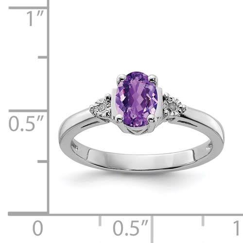 Sterling Silver Diamond & Purple Amethyst Ring Sz 7