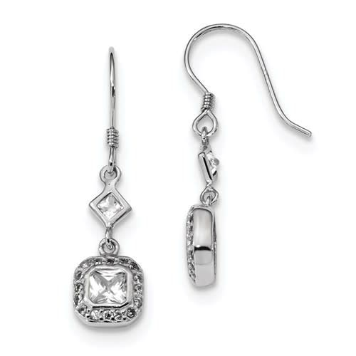 Quality Gold Sterling Silver CZ Square Princess Halo Dangle Earrings
