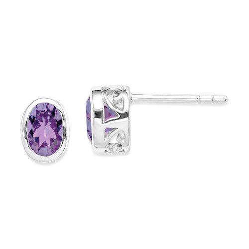 Sterling Silver Polished Purple Amethyst Oval Post Earrings