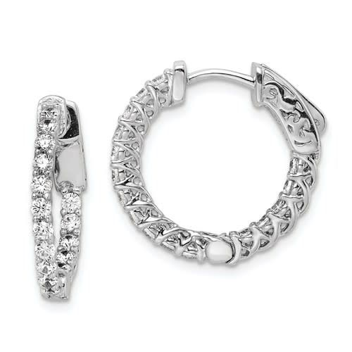 Sterling Shimmer Collection CZ Inside / Outside Round Hoop Earrings