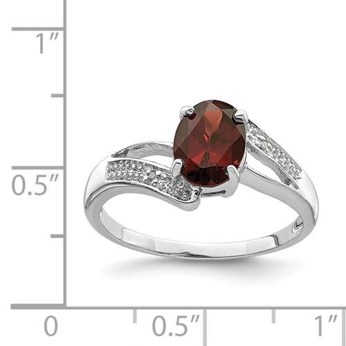 Sterling Silver Rhodium Oval Garnet & Diamond Ring Size 7