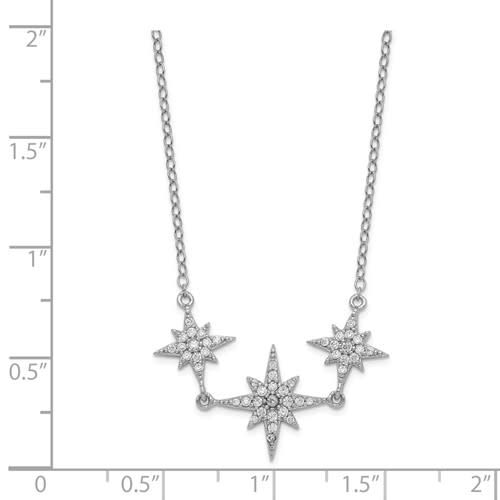 Celestial Sterling Silver & CZ Small Northern Star Necklace 16-18in
