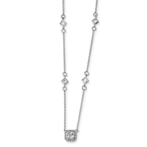Quality Gold Sterling Silver Square Princess CZ Halo Necklae w/extender 16-18in
