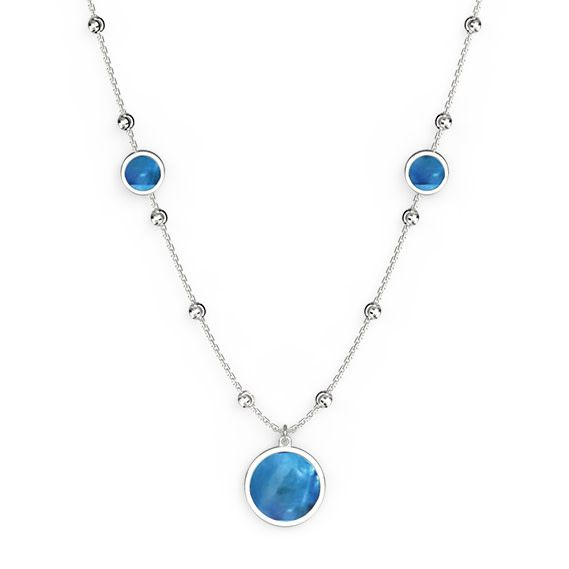 Officina Bernardi Bernardi Sterling Silver Diamond Cut Blue Mother of Pearl Necklace 18-20in