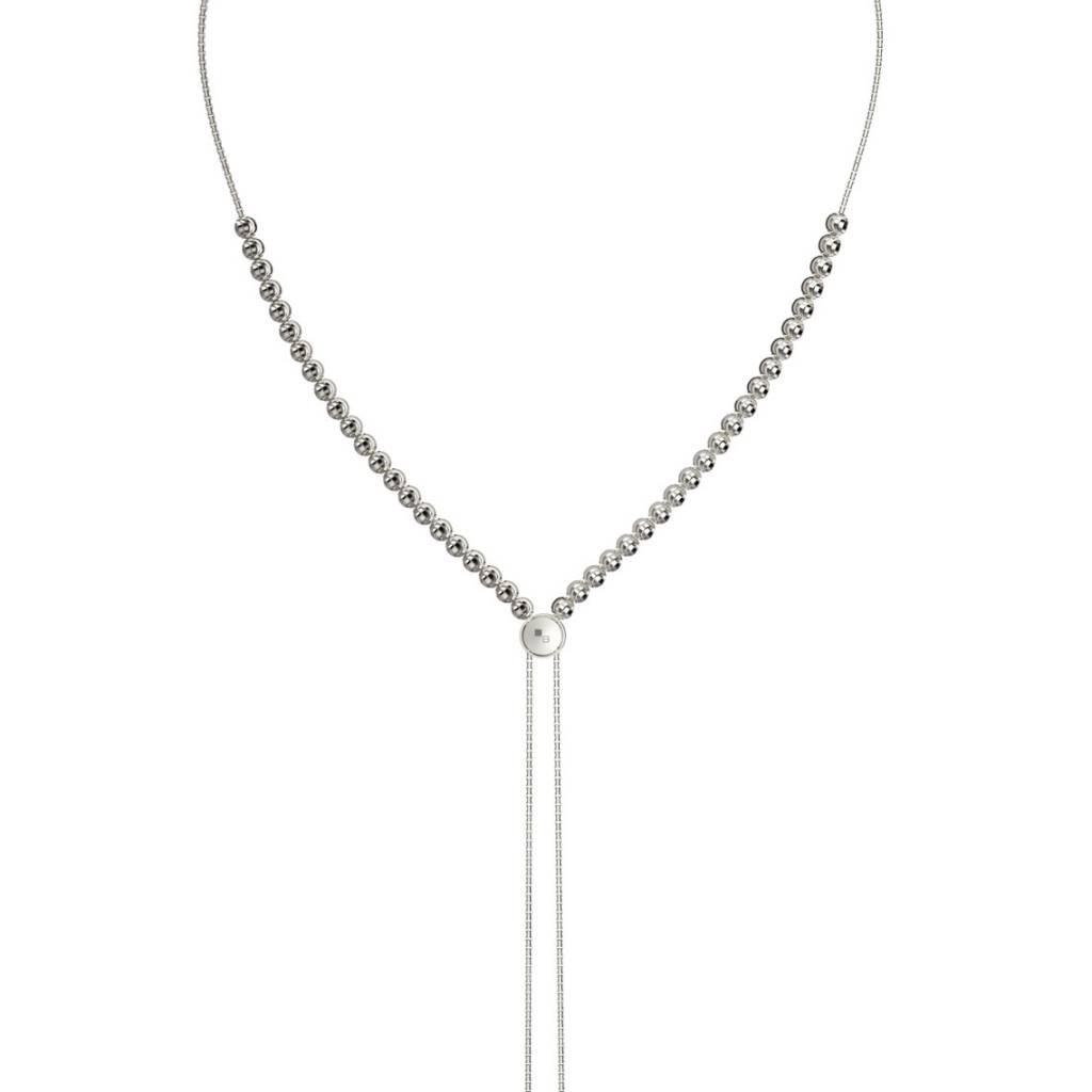 Officina Bernardi Bernardi Diamond Cut Sterling Silver Lariat Necklace 34in Adjustable