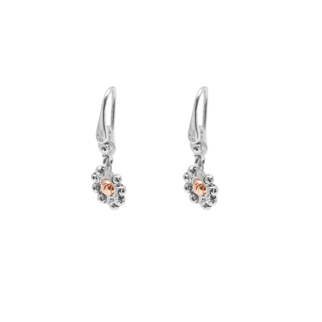 Officina Bernardi Bernardi Diamond Cut Rhodium Sterling Silver Daisy Earring