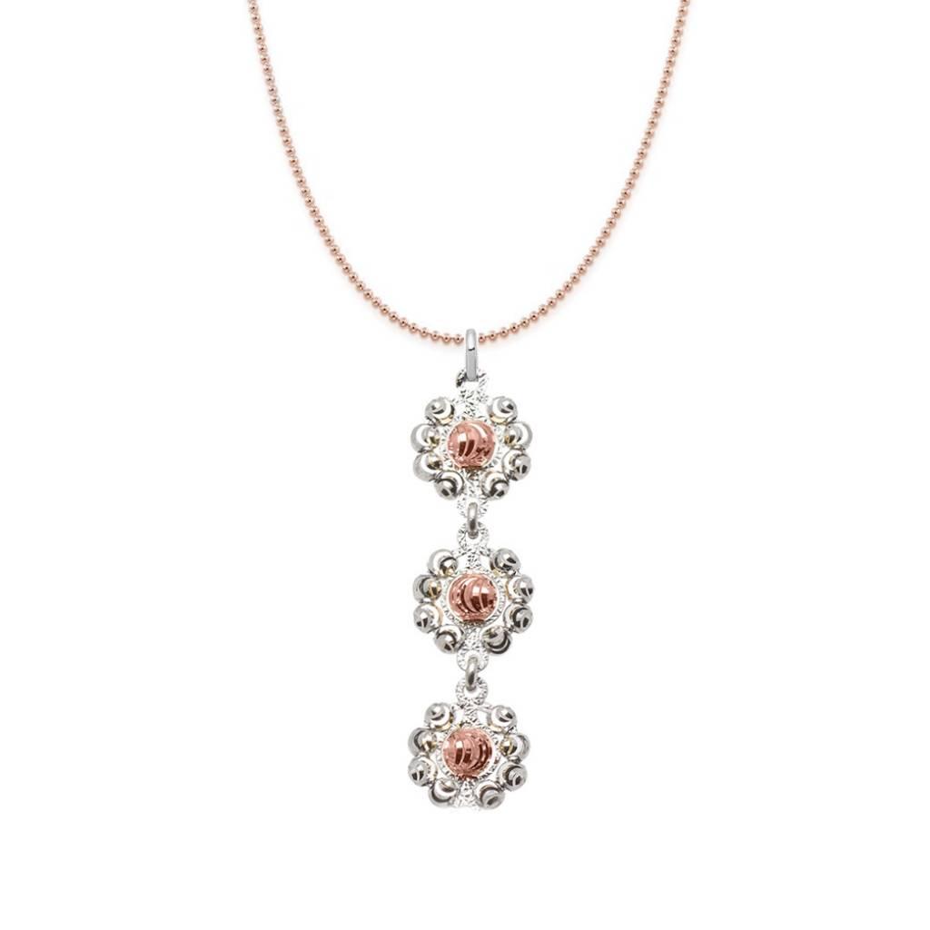 Officina Bernardi Bernardi Diamond Cut Rose Sterling Silver 3 Daisy Necklace 18in Rose