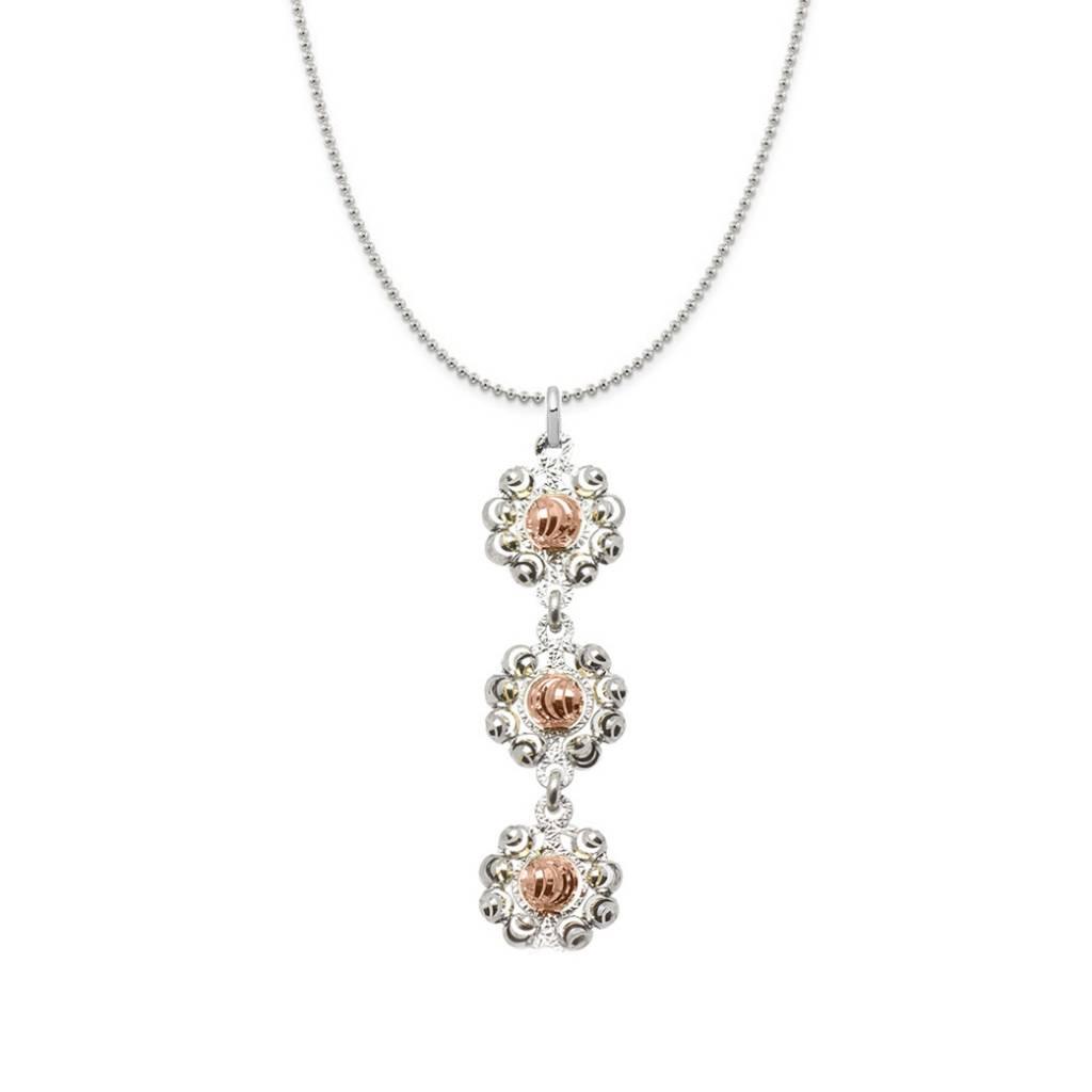 Officina Bernardi Bernardi Diamond Cut Rose Sterling Silver 3 Daisy Necklace 18in