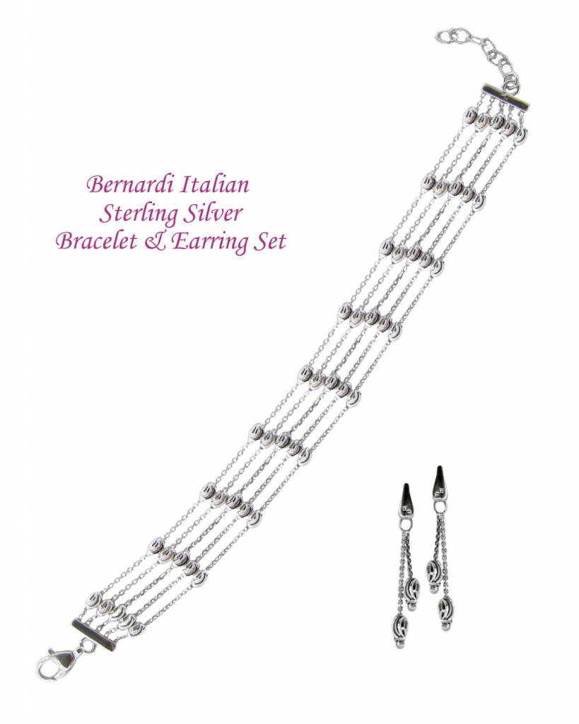 Officina Bernardi Bernardi Sterling Silver OVAL STATION 5 ROW 7-8in Bracelet & Earrings Set