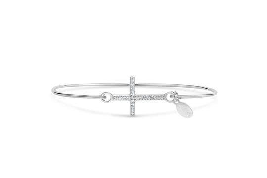 Stia Stia Sterling Silver Cuff PAVE ICON Bracelet - Cross