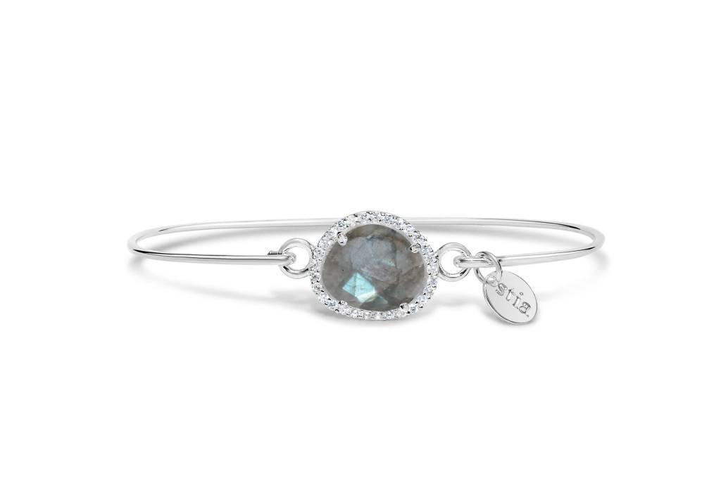 Stia Stia Sterling Silver Cuff PAVE Free Form Halo Bracelet  - Laboradite