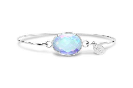 Stia Stia Sterling Silver Cuff Freeform Prong Gemstone Bracelet - Iridescent Topaz