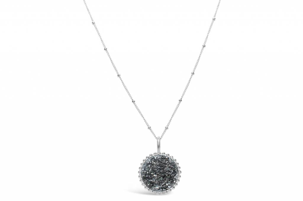 Stia Stia Sterling Silver Mini Druzy Beaded Edge Necklace - Platinum
