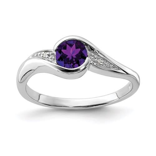 Sterling Silver Rhodium Plated Diamond and Purple Amethyst Round Ring Size 8