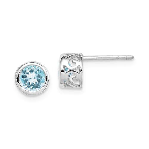 Sterling Silver Light Blue Topaz Round Bezel Post Filigree Earrings