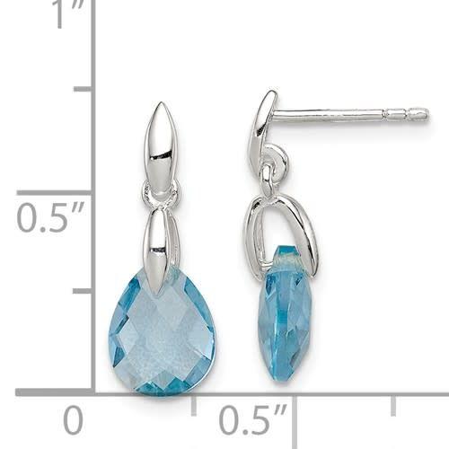 Sterling Silver Blue Teardrop CZ Earrings