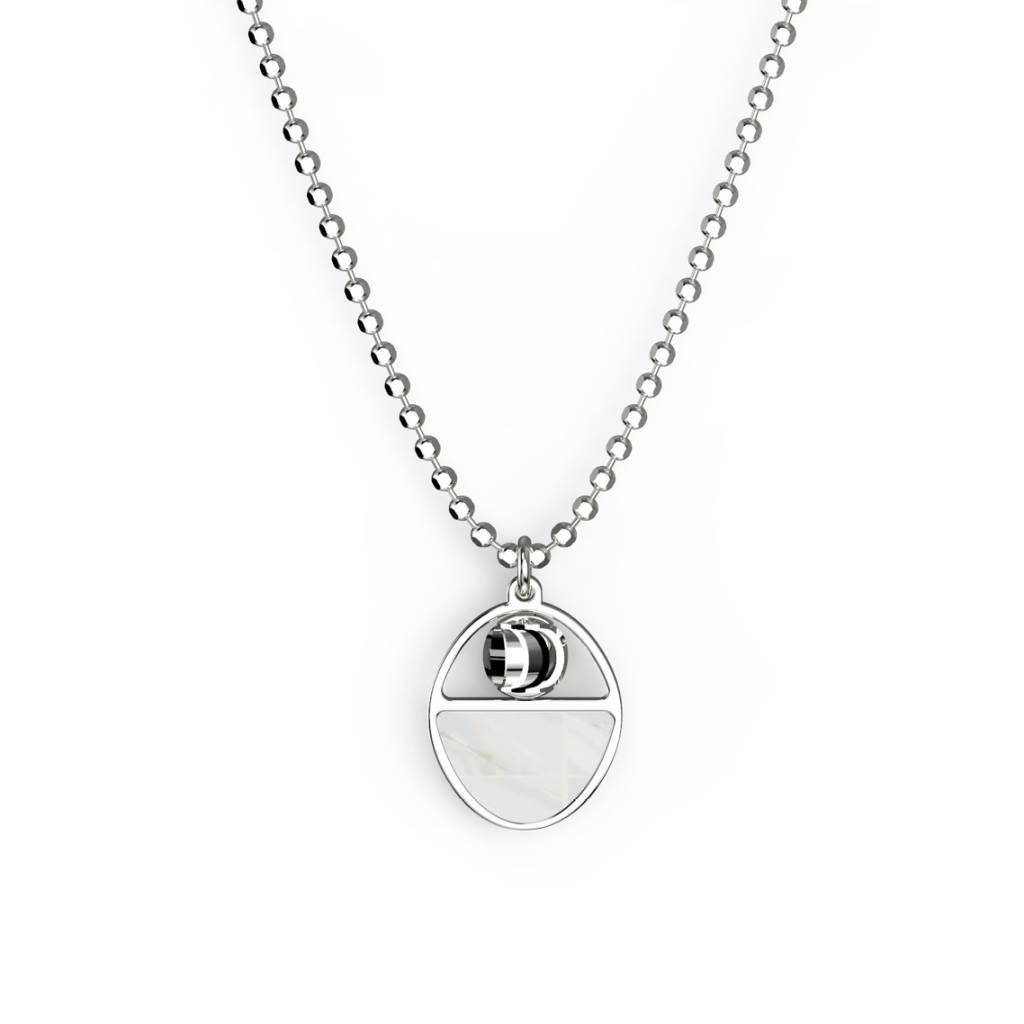 Officina Bernardi Bernardi Aurora Mother of Pearl Diamond Cut Rhodium Sterling Silver Necklace 18in