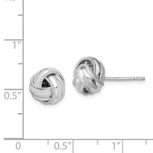 Quality Gold Sterling Silver Polished Twisted Milgrain Knot Stud Earrings