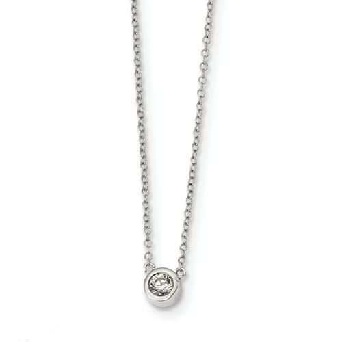 Sterling Silver 16in CZ Round Bezel Necklace