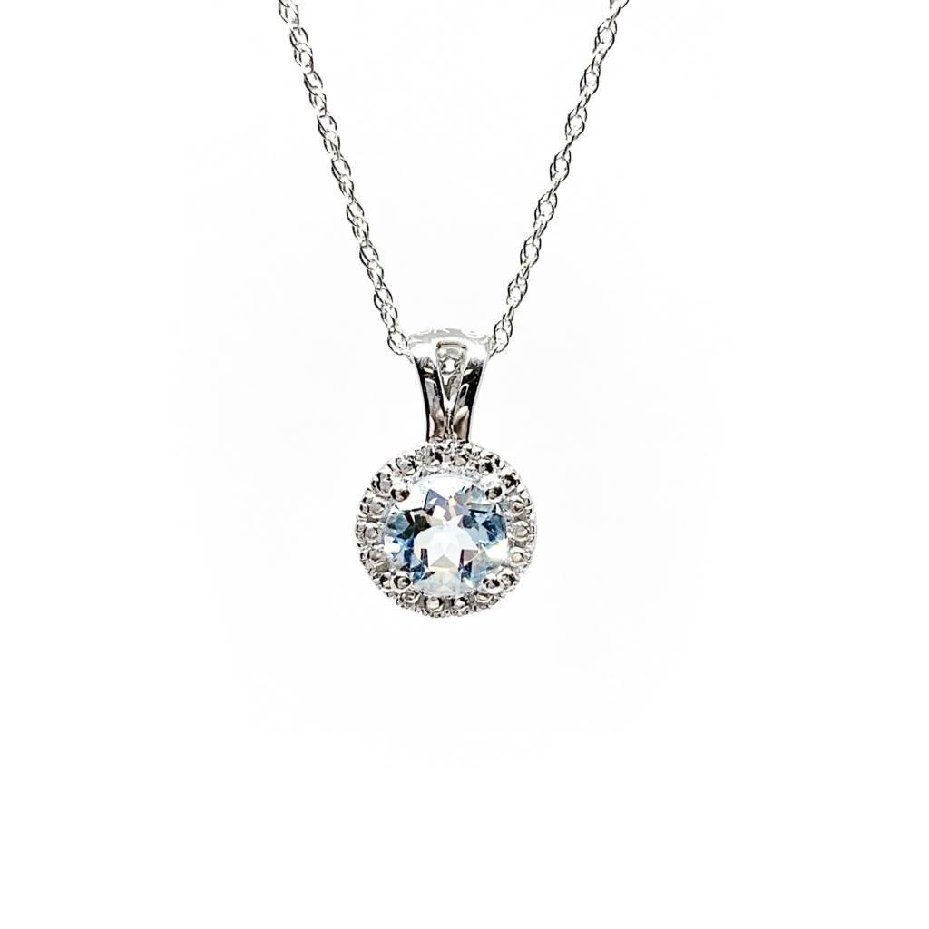 10K White gold 5mm Round Aquamarine Necklace 18in