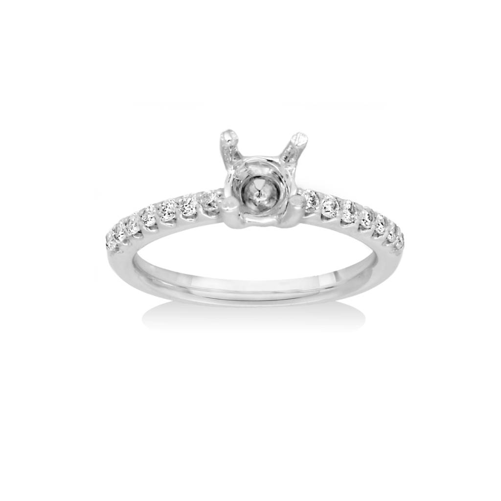14K White Gold Engagement Ring Mounting 0.27 cttw Si1 G-H, 14 Round Brilliant Cut Diamonds
