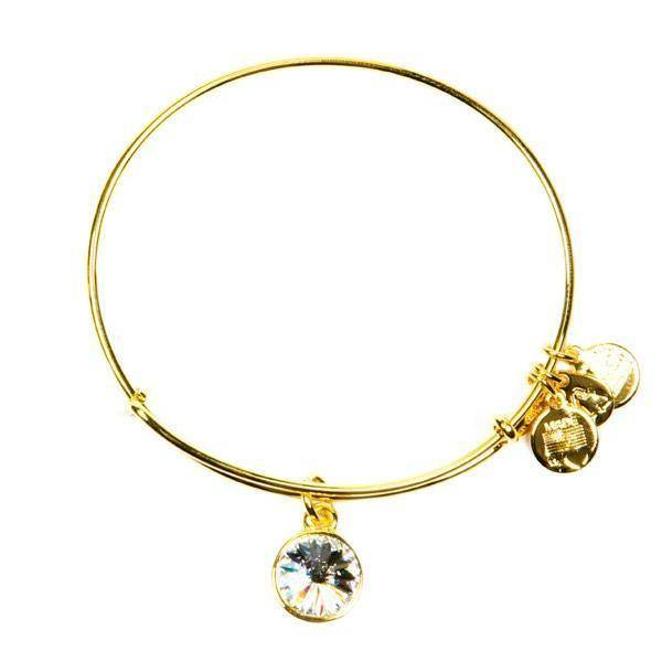 Alex and Ani Alex & Ani Bracelet BIRTHSTONE APRIL CRYSTAL Shiny Gold Finish