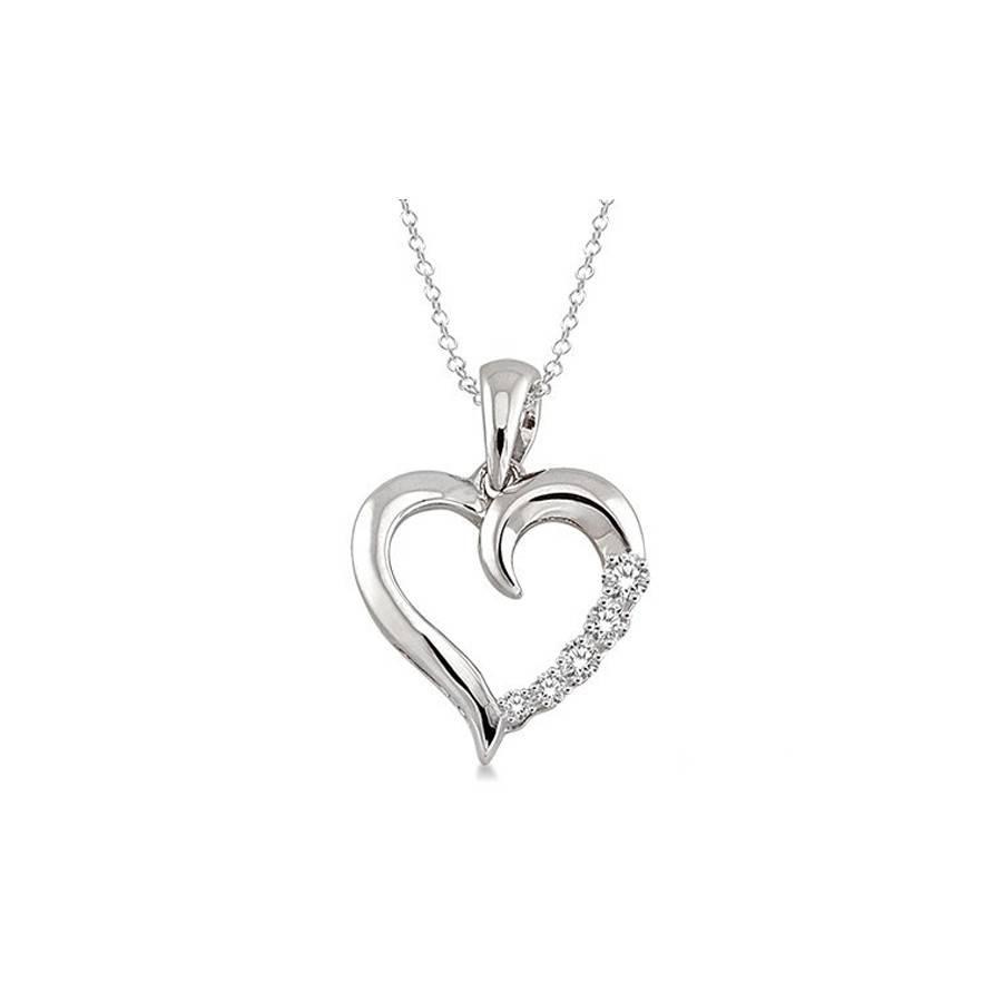 1/30 Ctw Single Cut Diamond Heart Shape Diamond Pendant in Sterling Silver with Chain
