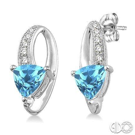 Earrings Trillion Cut blue topaz and Diamond Sterling Silver