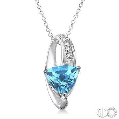 Trillion Cut Blue Topaz and Diamond Pendant in Sterling Silver with Chain