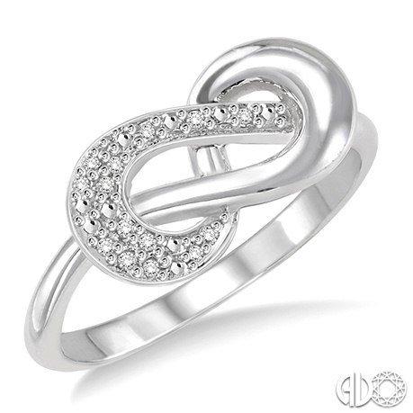 Ashi Sterling Silver Infinity/Diamond.05Ct  Ring