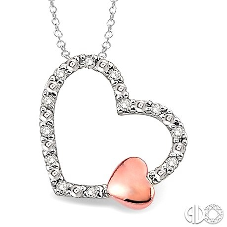 """Sterling Silver Diamond Heart Pendant With Rose Gold Overlay Mini Heart 18"""" Chain"""