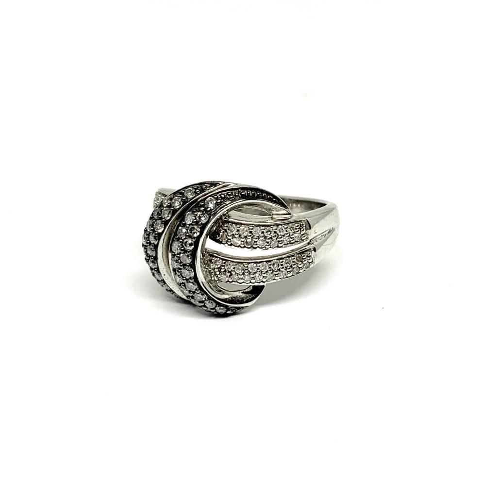 Sterling Silver Gunmetal Diamond Ring 0.50Ctw Size 7