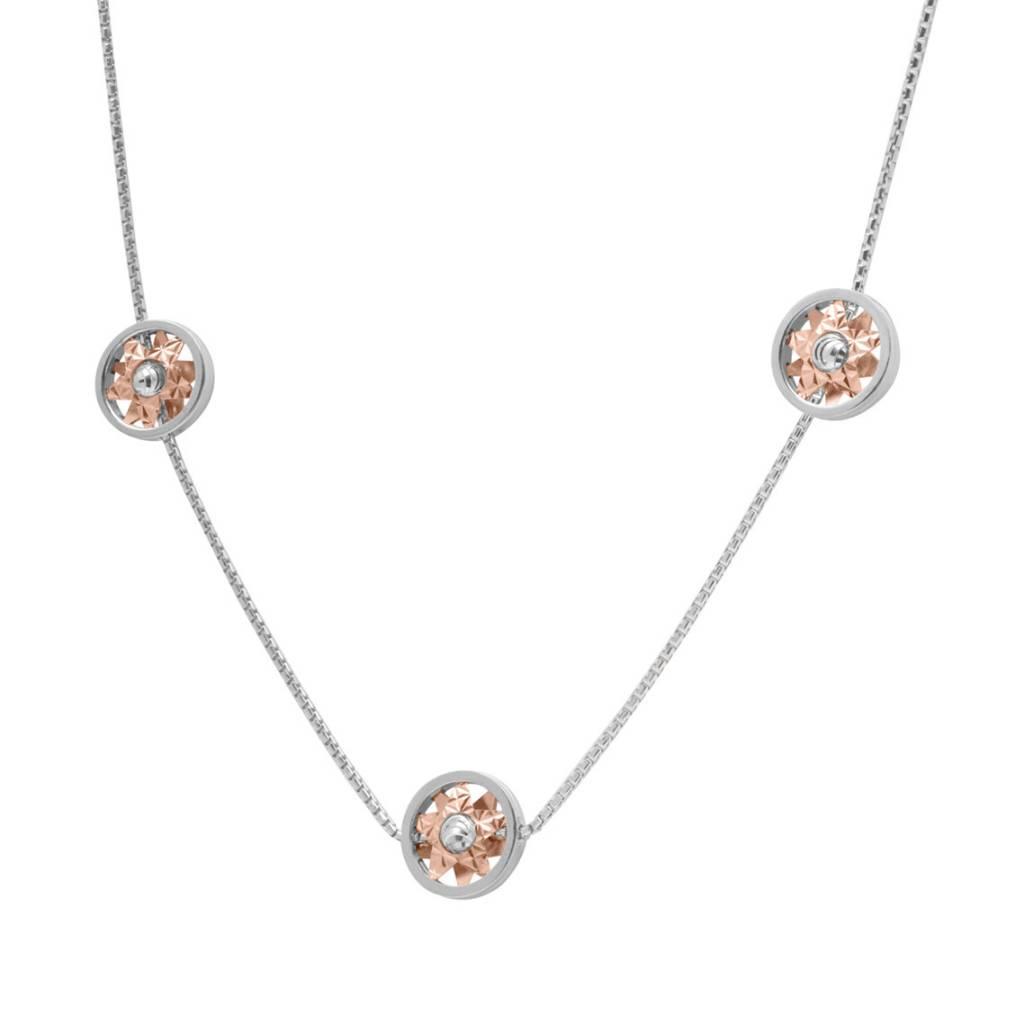 Officina Bernardi Bernardi Diamond Cut Sterling Silver & Rose Gold Overlay Star Disc Necklace 18in