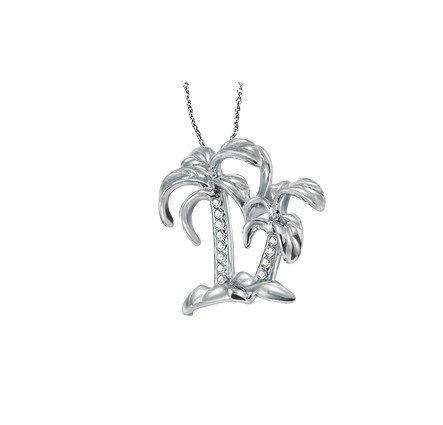 14K White Gold Diamond Palm Tree Necklace 0.05Ctw