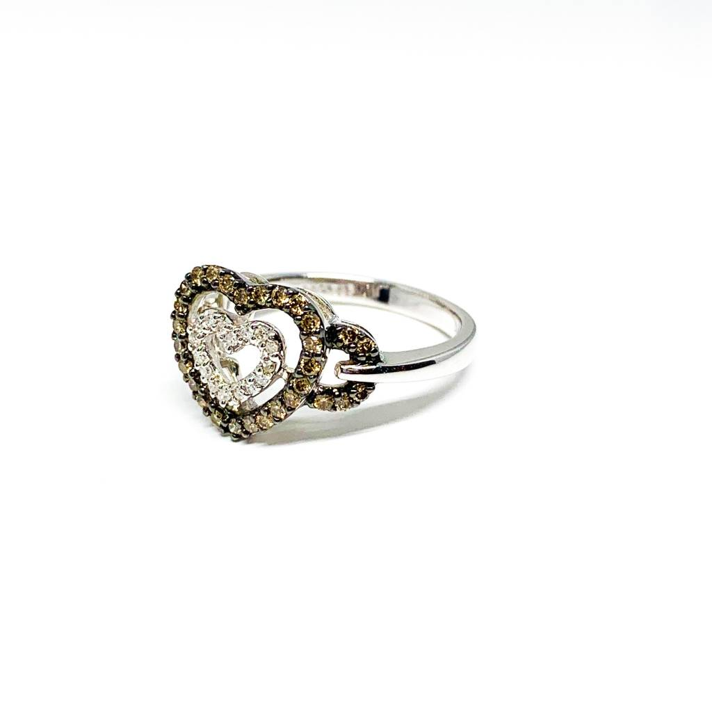 14K White Gold Hot Cocoa / Champagne Diamond Heart Ring 0.50 Carat Size 7