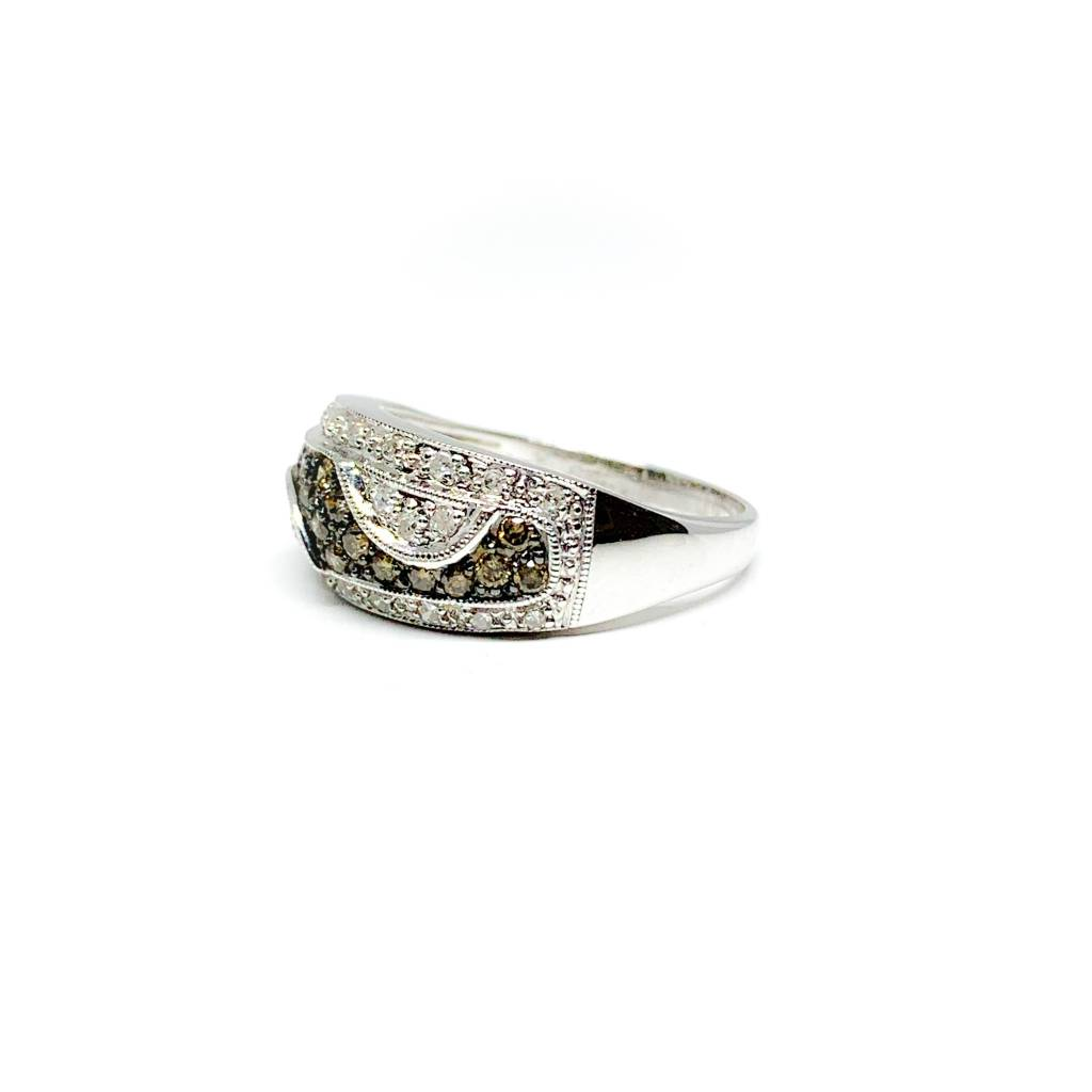 14K White Gold Hot Cocoa / Champagne Diamond Wave Ring 0.52 Carat Size 7