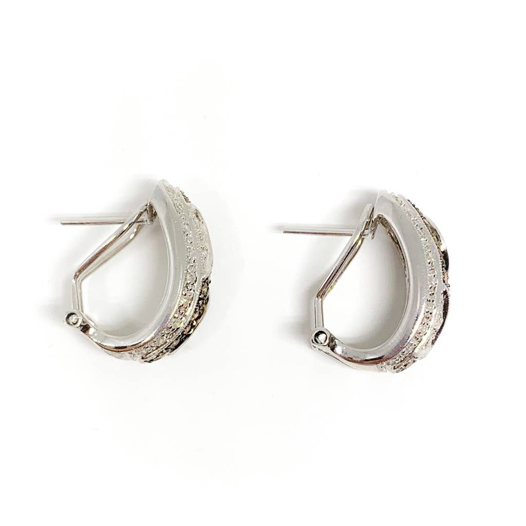 14K White Gold Hot Cocoa / Champagne Diamond Wave Clip Post Earrings 1 Carat