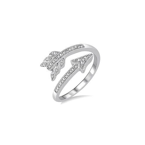 Sterling Silver and Diamond Arrow Ring 0.07CTW