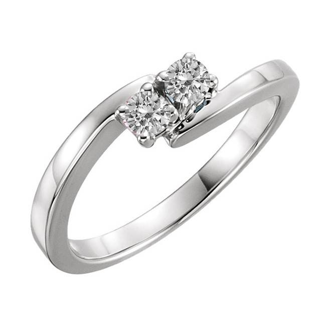 Forevermore Two Stone Sterling Silver Bipass Diamond Ring 0.16 ctw